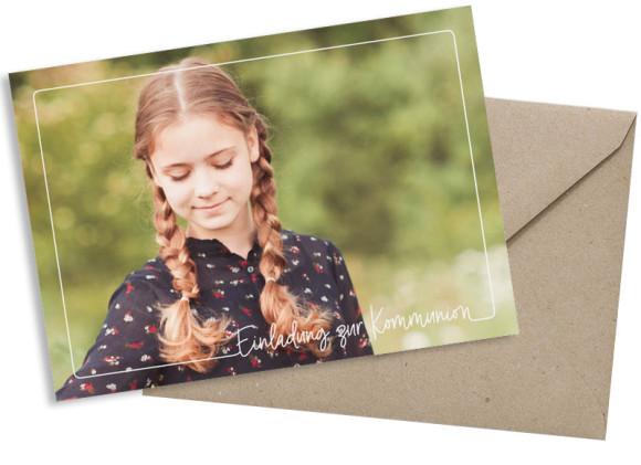 Kommunionseinladung (Postkarte mit Foto), Motiv: Kraftvoll, mit Briefhülle, Farbvariante: weiss