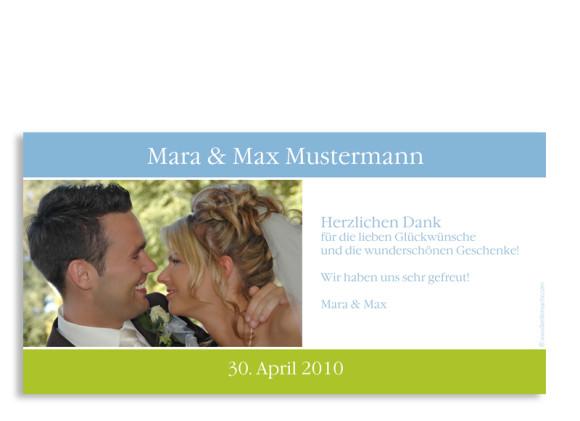 Rückseite, Danksagungs-Postkarte zur Hochzeit, Motiv Berlin, Farbversion: blau-grün