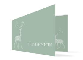 Weihnachtskarte Holy Deer Graugrün