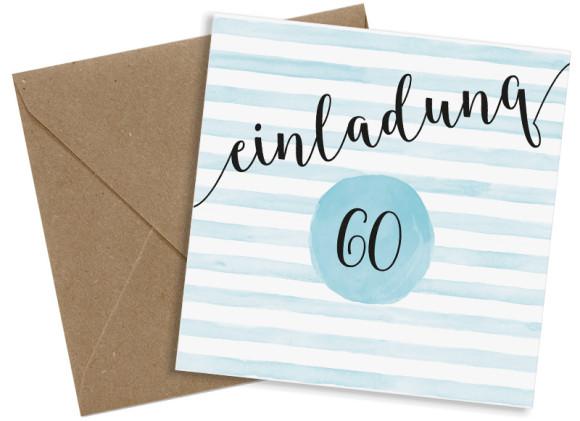 Einladungskarten 60. Geburtstag, Motiv: Dots 'n Stripes, (quadratische Postkarte), mit Briefhülle, Farbvariante: eisblau