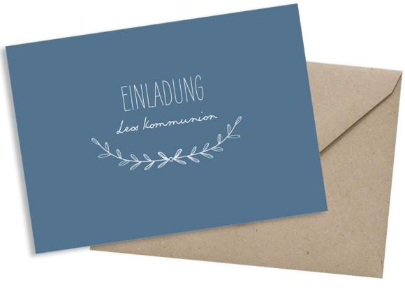 Einladung zur Kommunion (Postkarte A6 ohne Foto), Motiv: Zweig, mit Briefhülle, Farbvariante: dunkelblau