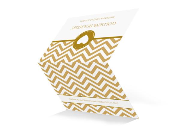 Goldene Hochzeit Einladung Hamptons Heart, Außenansicht der Farbversion: beige