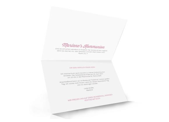Einladungskarten zur Kommunion Sonne, Innenansicht, altrosa