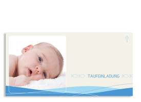 Einladungen zur Taufe Esther/Erik (Postkarte) Blau