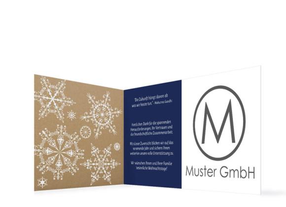 Firmen-Weihnachtskarte Geometrics (Klappkarte), Innenansicht in dunkelblau
