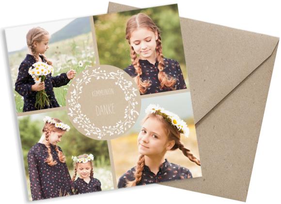 quadratische Danksagungskarte mit Fotos, Motiv: Zauber KD, mit Briefhülle, Farbvariante: weiss
