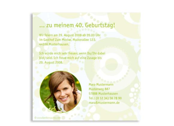 Rückseite, Einladungskarte ohne Foto, Motiv Dots, Farbversion: grün/hellblau
