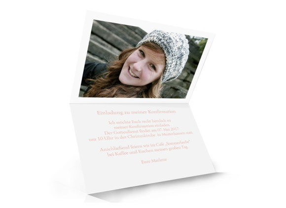 Einladung zur Konfirmation, Motiv Calligraphy, Innenseite, Klappkarte A6, Farbversion: apricot