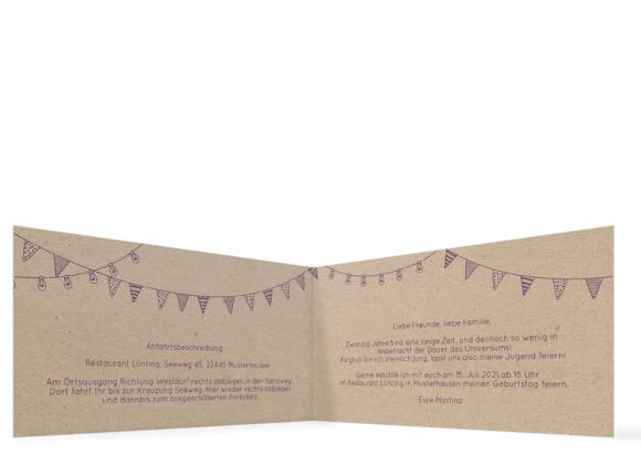 Einladungskarten Geburtstag (Klappkarte DL quer - 2 Fotos), Motiv: Lebensweg, Innenansicht, Farbvariante: aubergine