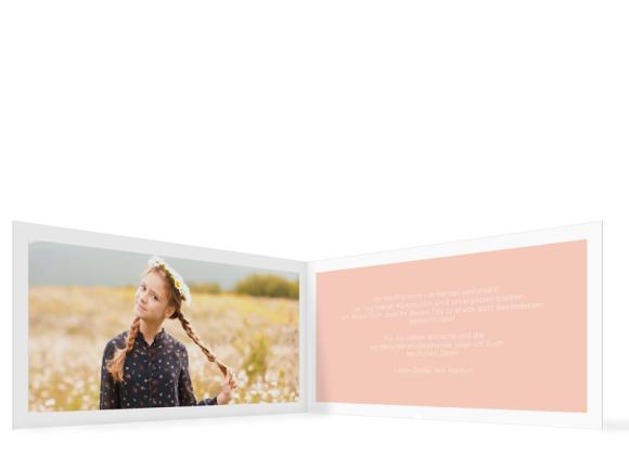 Dankeskarte Kommunion (Klappkarte Din Lang), Motiv: Glauben, Innenansicht, Farbvariante: apricot