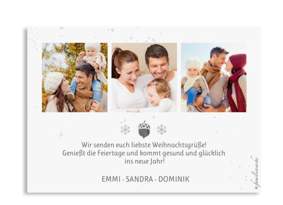 Weihnachtskarte Hubertus selbst gestalten, Hinten in schwarzgrau