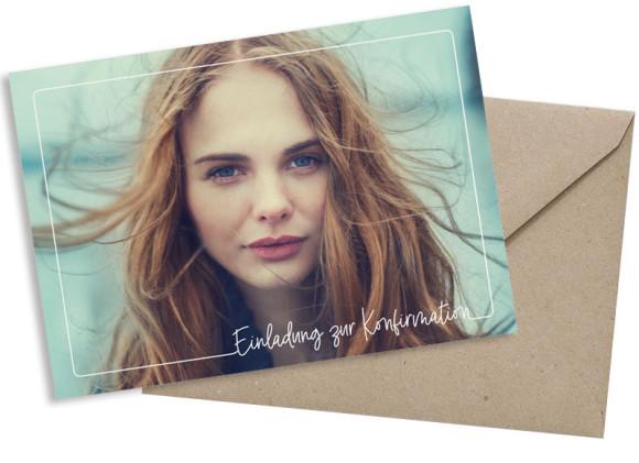 Einfache Postkarte mit Foto, Motiv: Kraftvoll, mit Briefhülle, Farbvariante: weiss