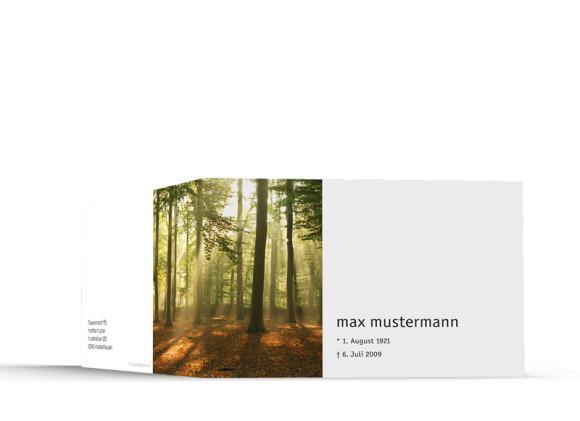 Außenansicht, Trauerkarte Motiv Wald, Farbversion: braun/weiß