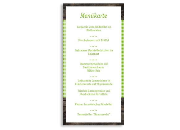 Rückseite, Menükarte zur Hochzeit (DIN Lang-Karte, zweiseitig), Motiv Alpenglühen, Farbversion: gruen