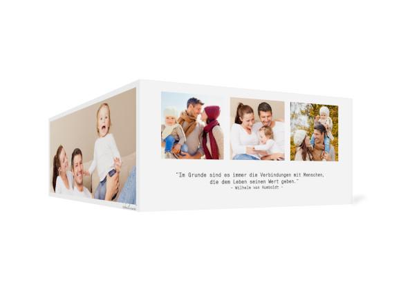 Neujahrskarte Blickwinkel, Außenansicht der Farbversion: weiß