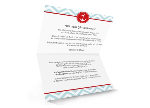 Hochzeitseinladungen Hamptons Anchor, Innenansicht der Farbversion: eisblau/rot