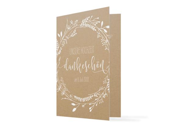 """Danksagungskarten zur Hochzeit """"Blumenkranz natural"""""""