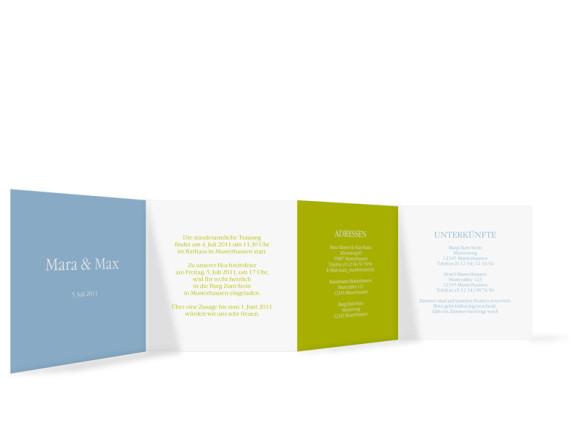 Innenansicht, Einladungs-Leporello zur Hochzeit, Motiv New York, Farbversion: blau-gruen