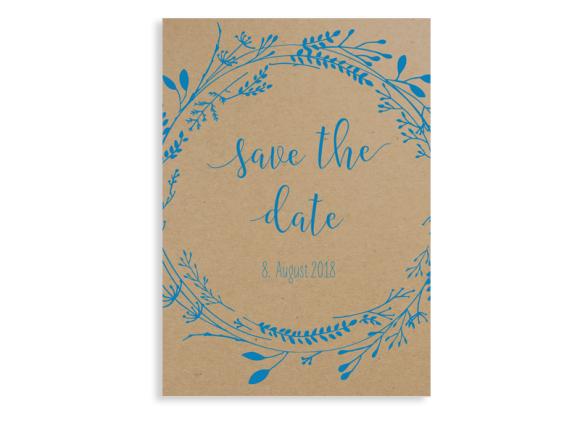 "Save the date-Karte ""Blumenkranz natural"""