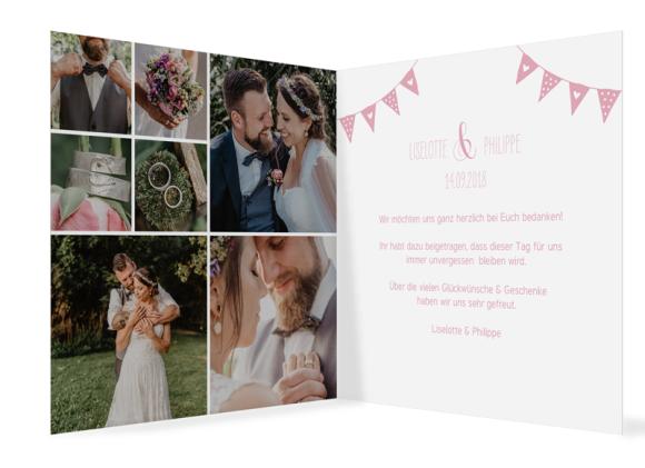 Danksagung Hochzeit (quad. Klappkarte - 300x150mm), Motiv: Malmö, Innenansicht, Farbvariante: rosa