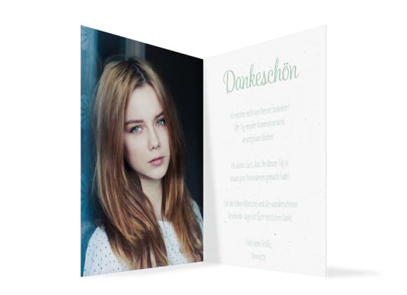 Dankeskarte zur Kommunion (Klappkarte A6 Hochformat mit Fotos), Motiv: Henriette/Henry, Innenansicht, Farbvariante: gruen