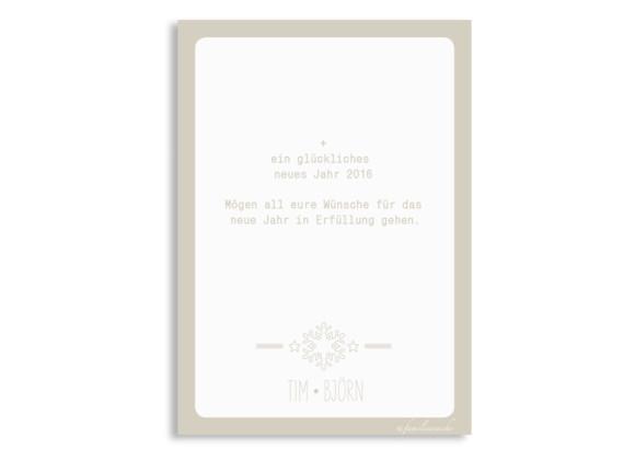Weihnachtsgrußkarten Pure, Rückseite der Farbversion: beige