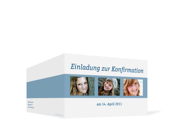 Außenansicht, Einladung zur Konfirmation, Motiv Jette/Jannik, Farbversion: blau