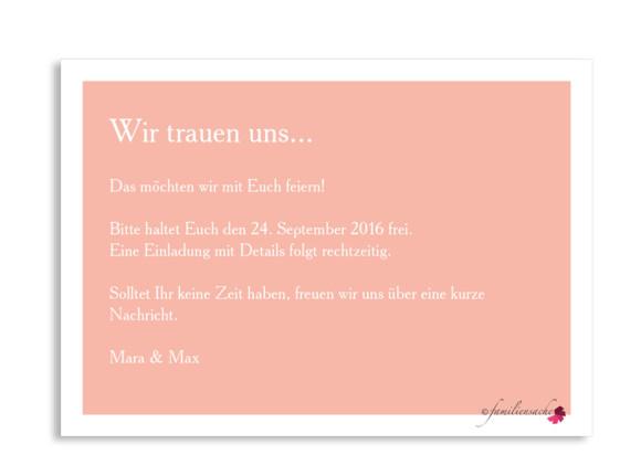 Save the Date-Karte Nizza, Postkarte A6, Rückseite, Farbversion: apricot