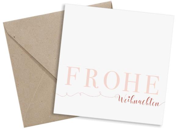 Firmen-Weihnachtskarte Bigletter (Postkarte, quad.) mit Umschlag, Farbvariante: apricot