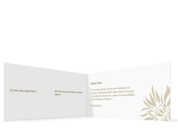 Danksagung zur Goldenen Hochzeit, Motiv Florenz, Innenansicht, Farbversion: beige