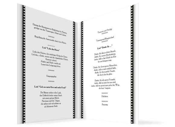 Innenansicht, Klappkarte zur Hochzeit (Kirchenheft), Motiv Hollywood, Farbversion: weiss