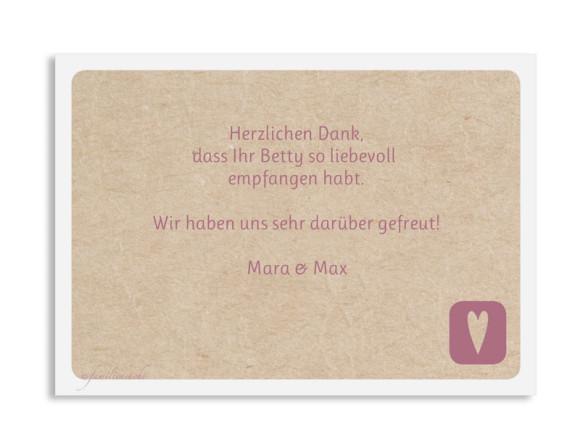 Babykarte (Postkarte A6, 1 Foto), Motiv: Betty/Boris, Rückseite, Farbvariante: altrosa
