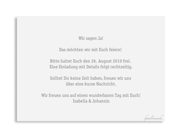 Save the date (Postkarte A6 quer), Motiv: Gent Pure, Rückseite, Farbvariante: grau