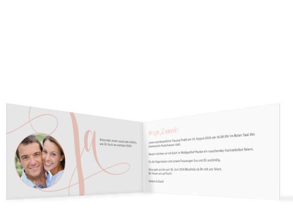 Einladung zur Hochzeit Cannes, Klappkarte DIN Lang, Innenansicht, Farbversion: apricot