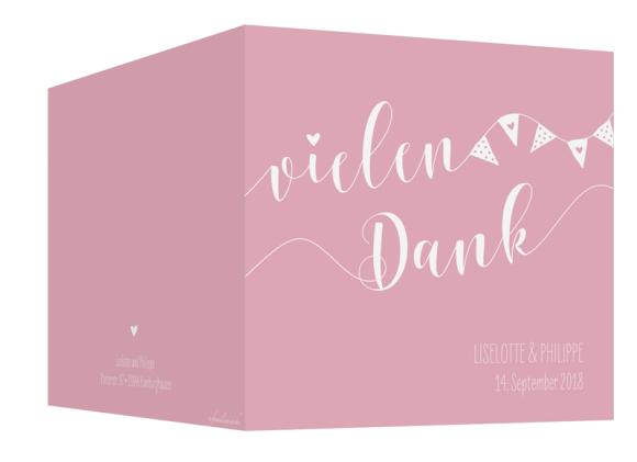 Danksagung Hochzeit (quad. Klappkarte - 300x150mm), Motiv: Malmö, Aussenansicht, Farbvariante: rosa