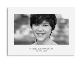 """Kommunionseinladungen """"Ausblick"""" (Postkarte quer mit Foto) grau"""