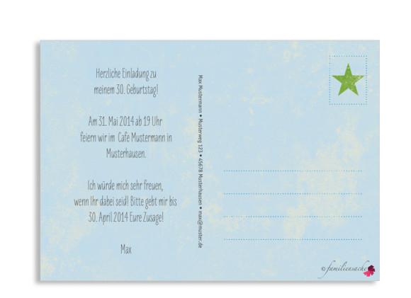 Einladungskarte Vintage Star, Postkarte, Rückseite, Farbvariante: blau/grün