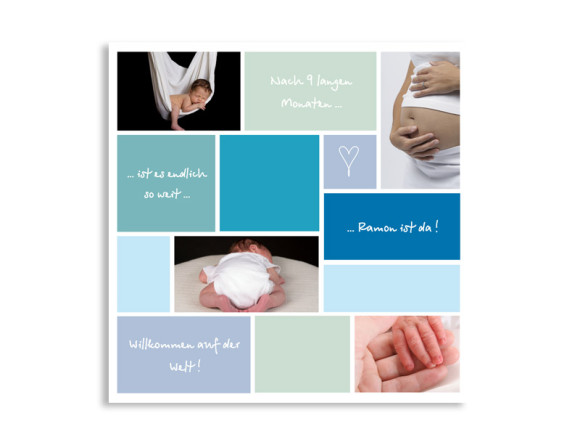 Geburtskarte Ramona/Ramon (quadratische Postkarte)