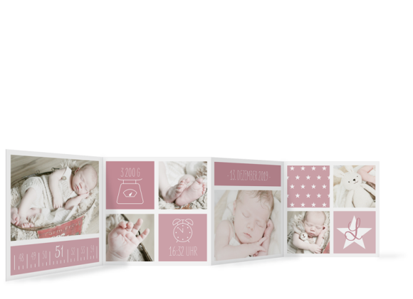 Dankeskarte zur Geburt (quadratisches Leporello, 8 Fotos), Motiv: Laguna/Leandro, Rückseite, Farbvariante: altrosa