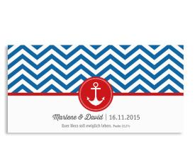 Danksagungskarten zur Hochzeit Hamptons Anchor Blau/Rot