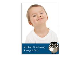 Einschulungskarte Eule (Postkarte) Blau