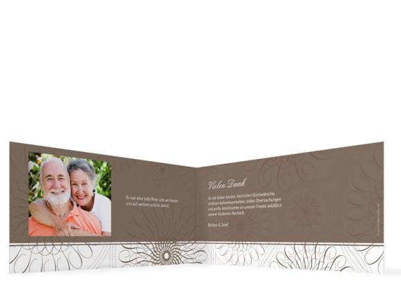 Danksagung Goldene Hochzeit, Motiv Mandala (Klappkarte DL quer, mit Foto), Innenansicht, Farbversion: beige