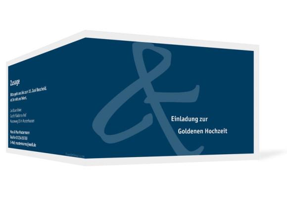 Außenansicht, Einladung zur Goldenen Hochzeit, Motiv Bern, Farbversion: blau