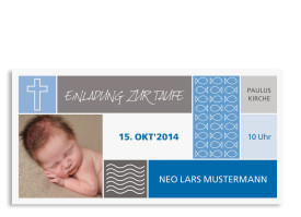 Taufeinladungen Nora/Neo (Postkarte) Blau