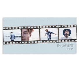 """Einladungskarte zur Konfirmation """"Weg"""" (Postkarte DL Fotos) hellblau"""