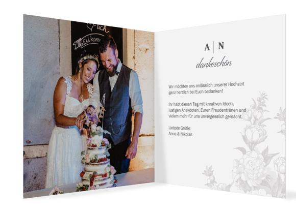 Hochzeitsdanksagungen (quadratische Klappkarte mit Foto), Motiv: Bukarest, Innenansicht, Farbvariante: anthrazit