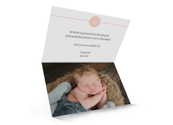 Danksagung zur Taufe (Klappkarte C6), Motiv: Hamptons Origami, Innenansicht, Farbvariante: apricot