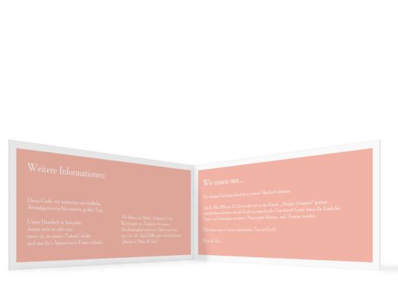 Hochzeitseinladung Nizza, Klappkarte DIN Lang, Innenansicht, Farbversion: apricot