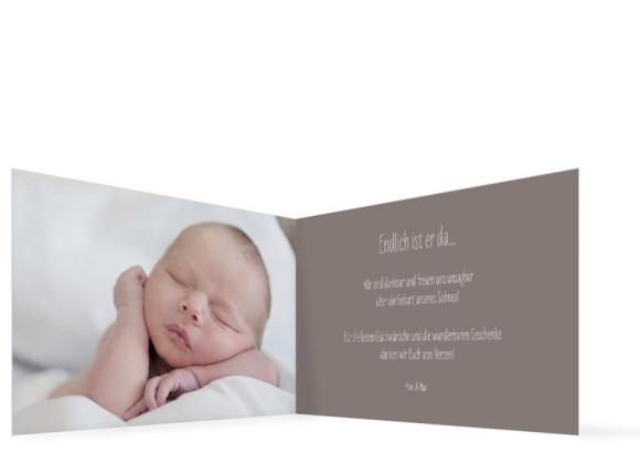 Geburtskarten Mathilda/Matteo, Innenansicht, Farbversion: schlamm/hellblau