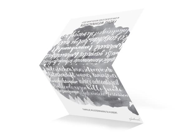 Karte zu Weihnachten Skript mit Foto in schwarzgrau, Außenansicht